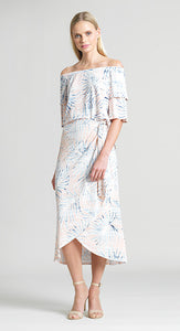 Tropical Print Pull On Wrap-Front Midi Skirt - Blush