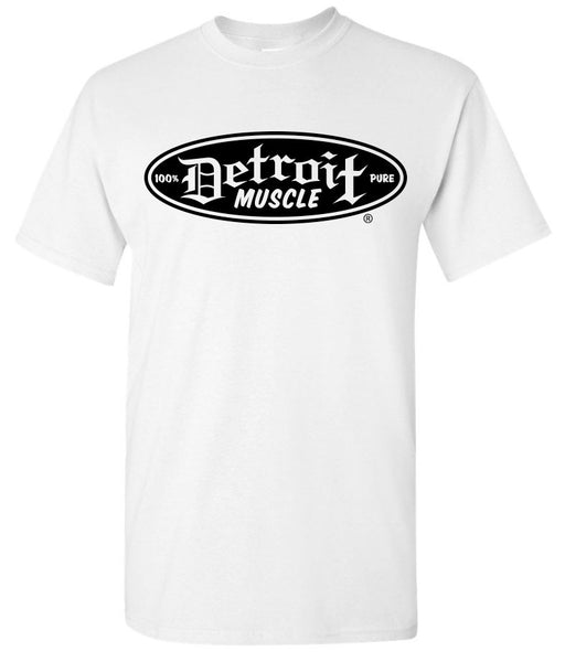 Detroit Muscle Logo Front, Large Factory Back, White