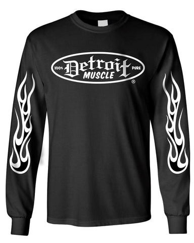 Detroit Muscle Logo Front, Small Factory Back, Long Sleeve, Black