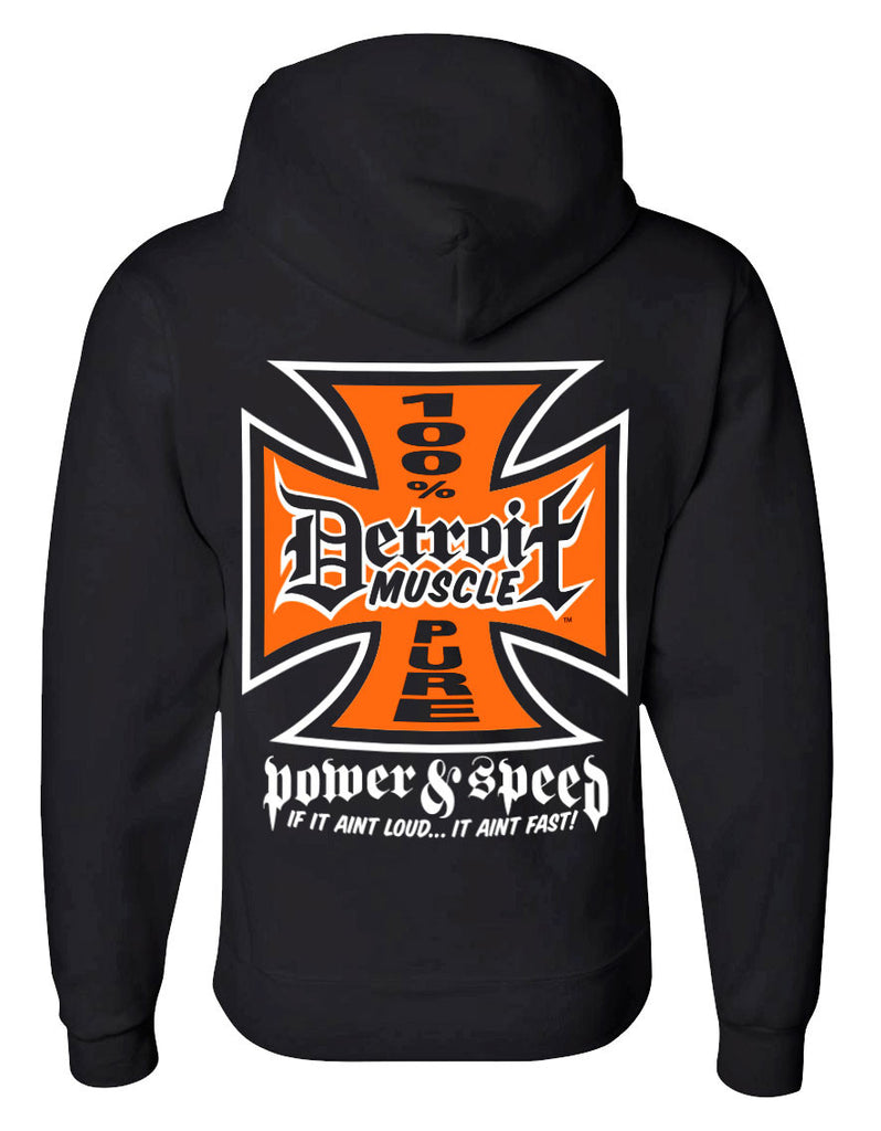 Detroit Muscle Iron Cross Hoodie, Black
