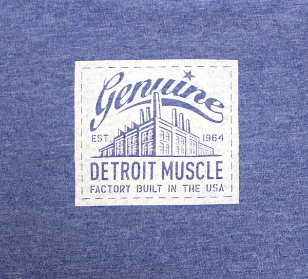 Pontiac Muscle Logo Front, Small Factory Tag Back, Heather Blue, Ladies T