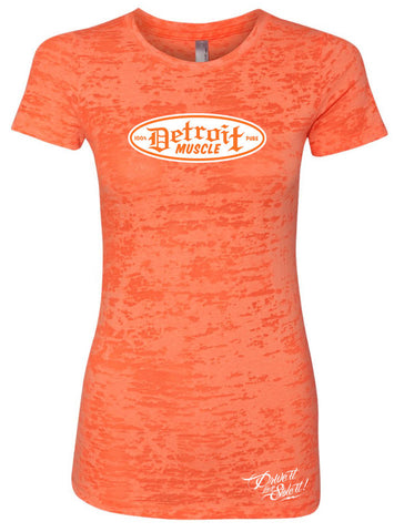 Orange Burnout T, Small Script Front, Women's