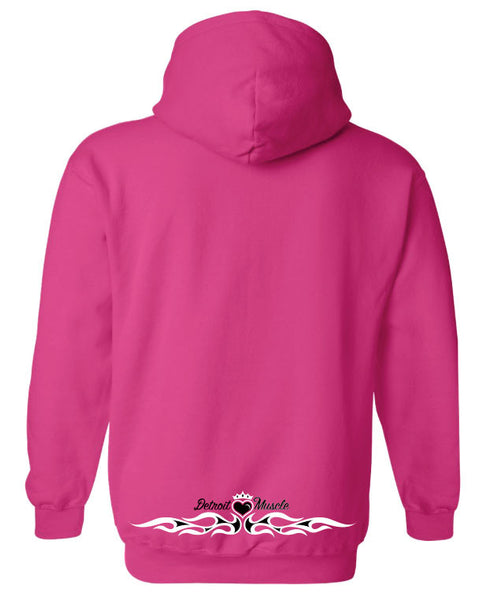 Women's Pink Hoodie, Logo Front Flames Back