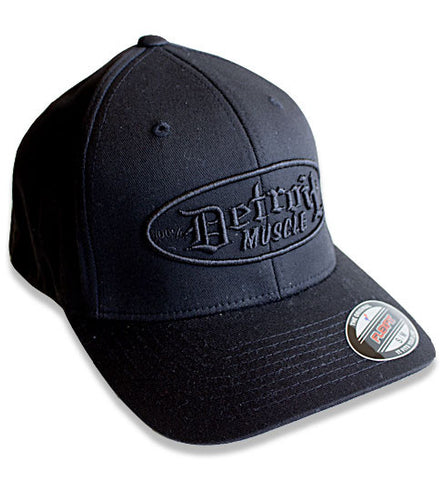 Detroit Muscle Flex Fit - Black with Black Puff Logo