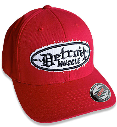 Flex Fit Hat, Red with Black Puff Embroidery and White Distressed Backing