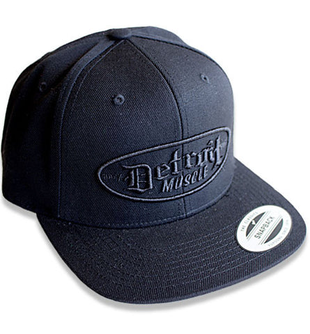 Detroit Muscle, Snap Back Flat Brim, Black with Black Puff Logo