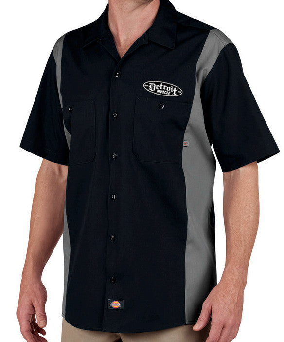 Detroit Muscle Work Shirt, Two Tone Black and Grey