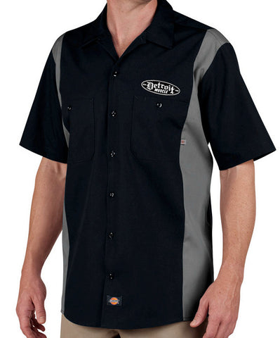 Detroit Muscle Dickies® Industrial Work Shirt - Two Tone Black and Grey