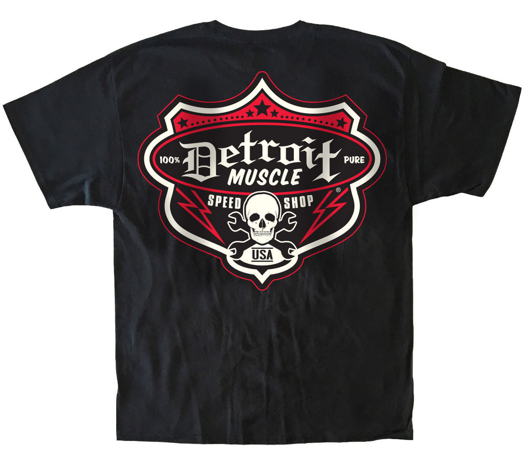 Speedshop Shield T, Detroit Muscle Logo Front, Speedshop Shield Logo Back