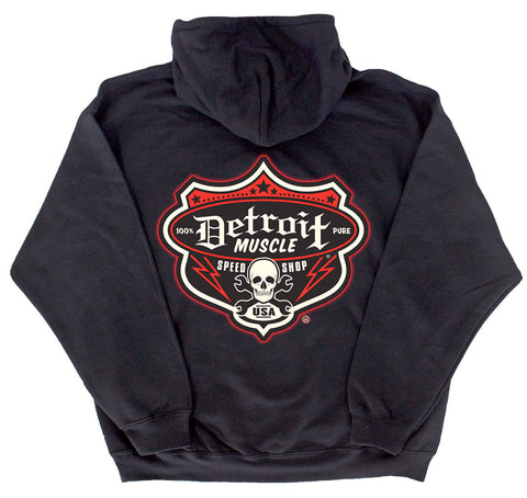Speedshop Shield Hoodie, Detroit Muscle logo front, Speedshop Logo back, Black
