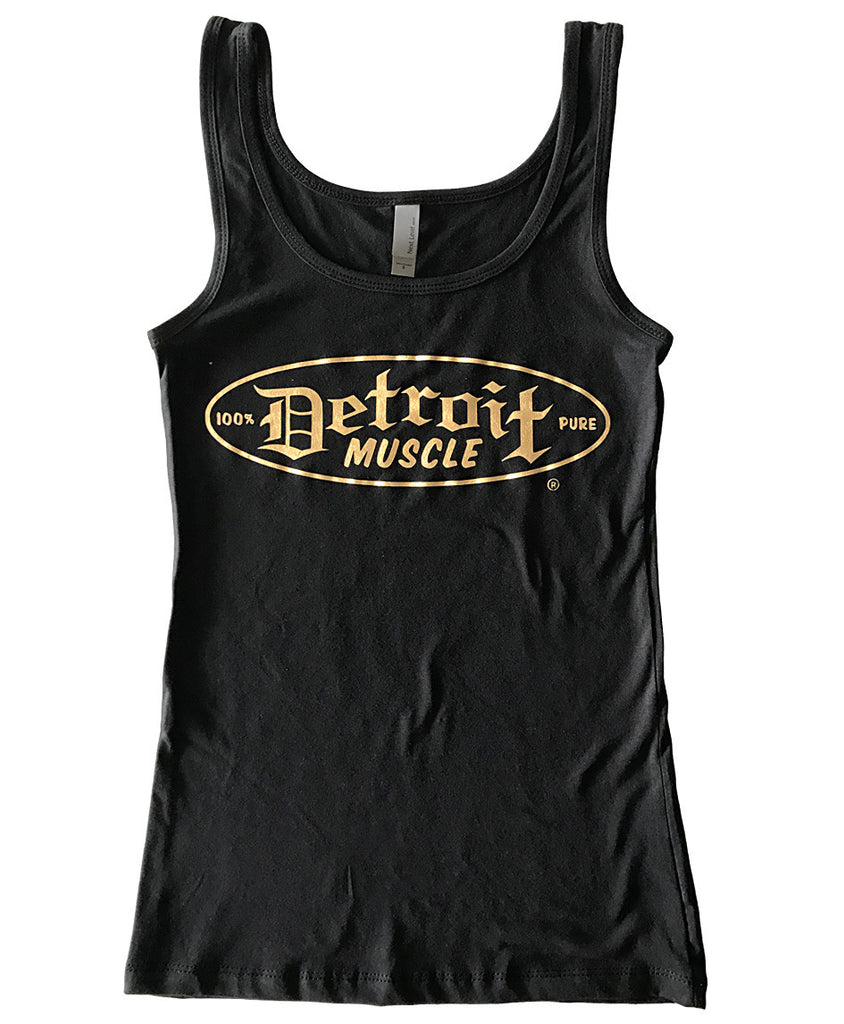 Metallic Gold Logo Black Tank, Women's
