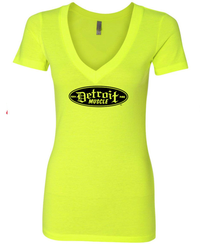 Detroit Muscle Logo Front, Neon Yellow V-Neck T-Shirt