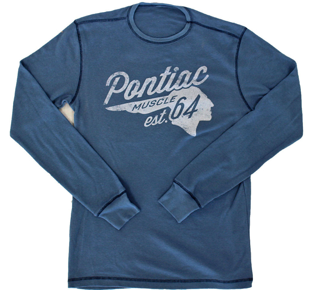 Pontiac Muscle Vintage Long Sleeve Thermal Shirt - Steel Blue