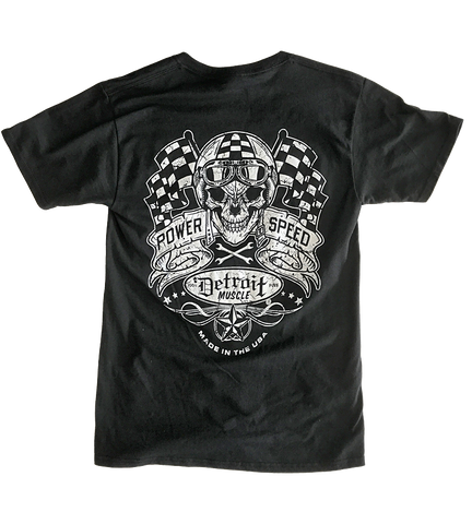 Detroit Muscle Skull and Flags Tee, Black