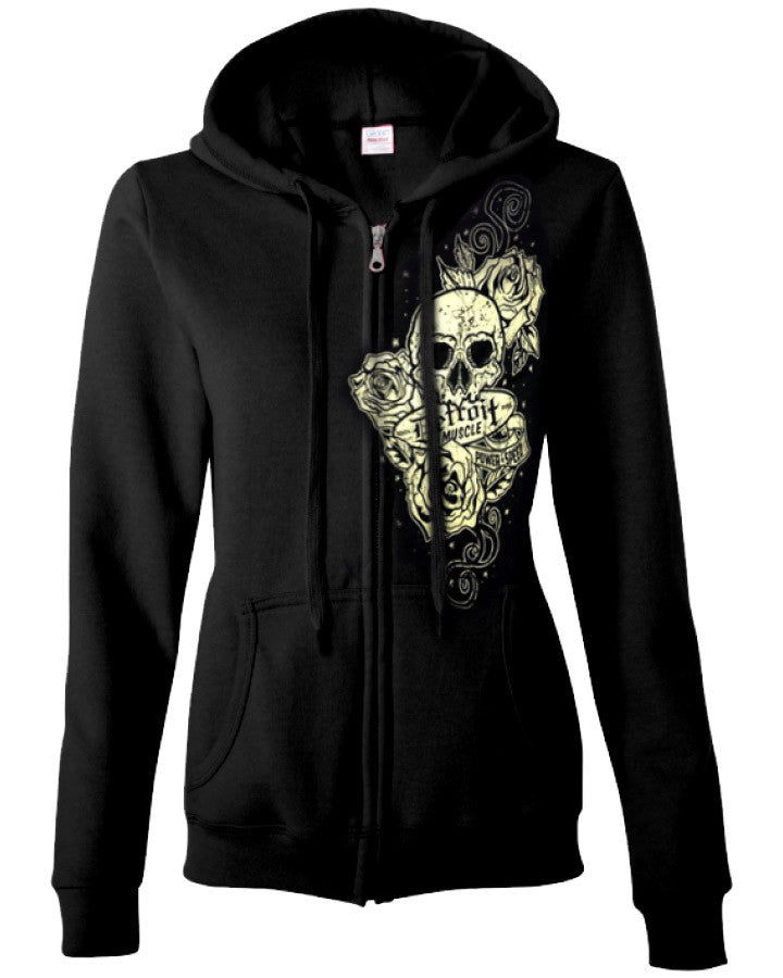 Skull and Roses Hoodie, Black, Zip, Ladies