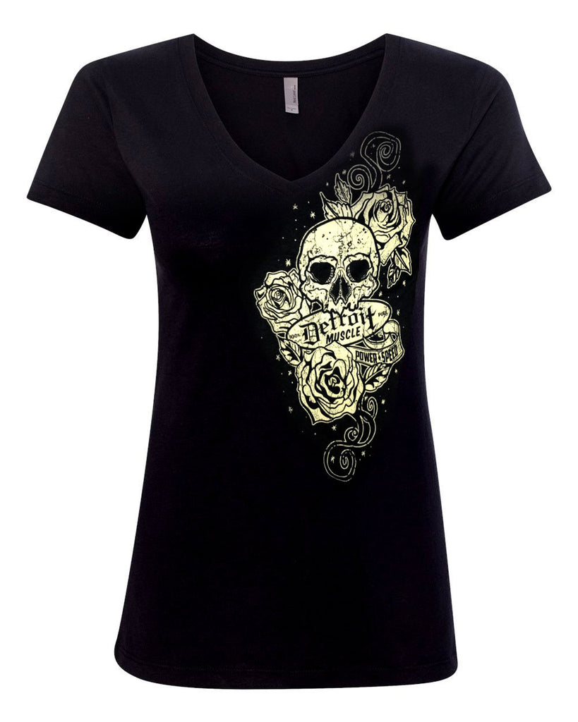 Skull and Roses, Women's Black V-Neck T-Shirt