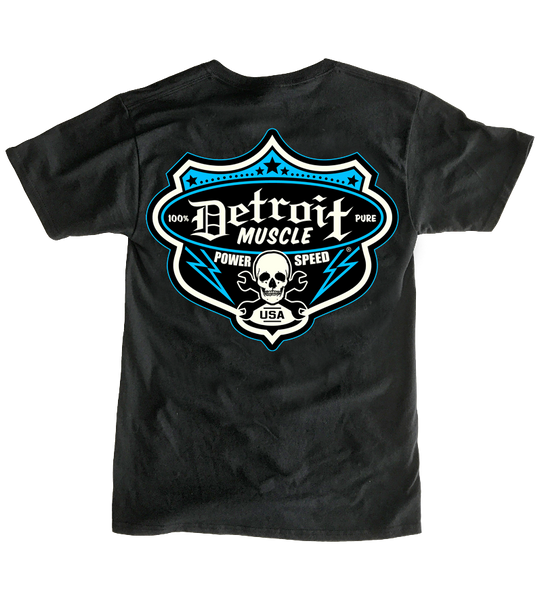 Detroit Muscle Logo Front, Speedshop Shield Logo, Blue, Back