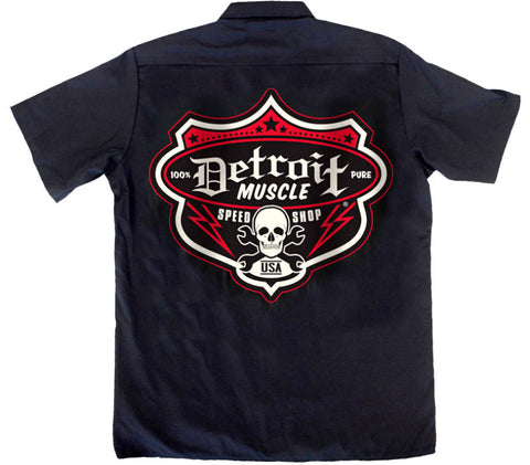 Detroit Muscle Dickies® Industrial Work Shirt - Speedshop Shield Back, Black