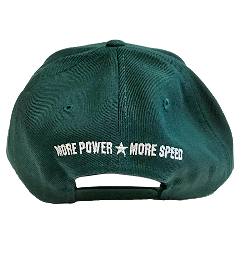 Snap Back Hat, Green with White Puff Embroidered Logo