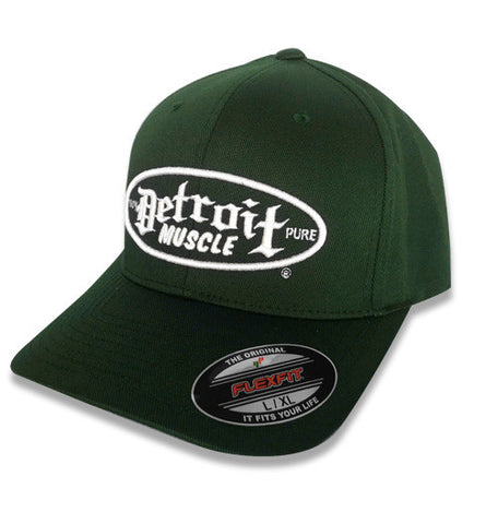 Detroit Muscle Green Flex Fit Hat - with White Puff Embroidered Logo