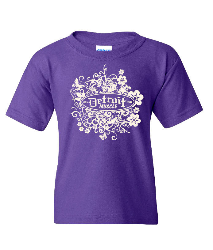Flower Logo Front, Car Girl Back, Youth Purple Tee