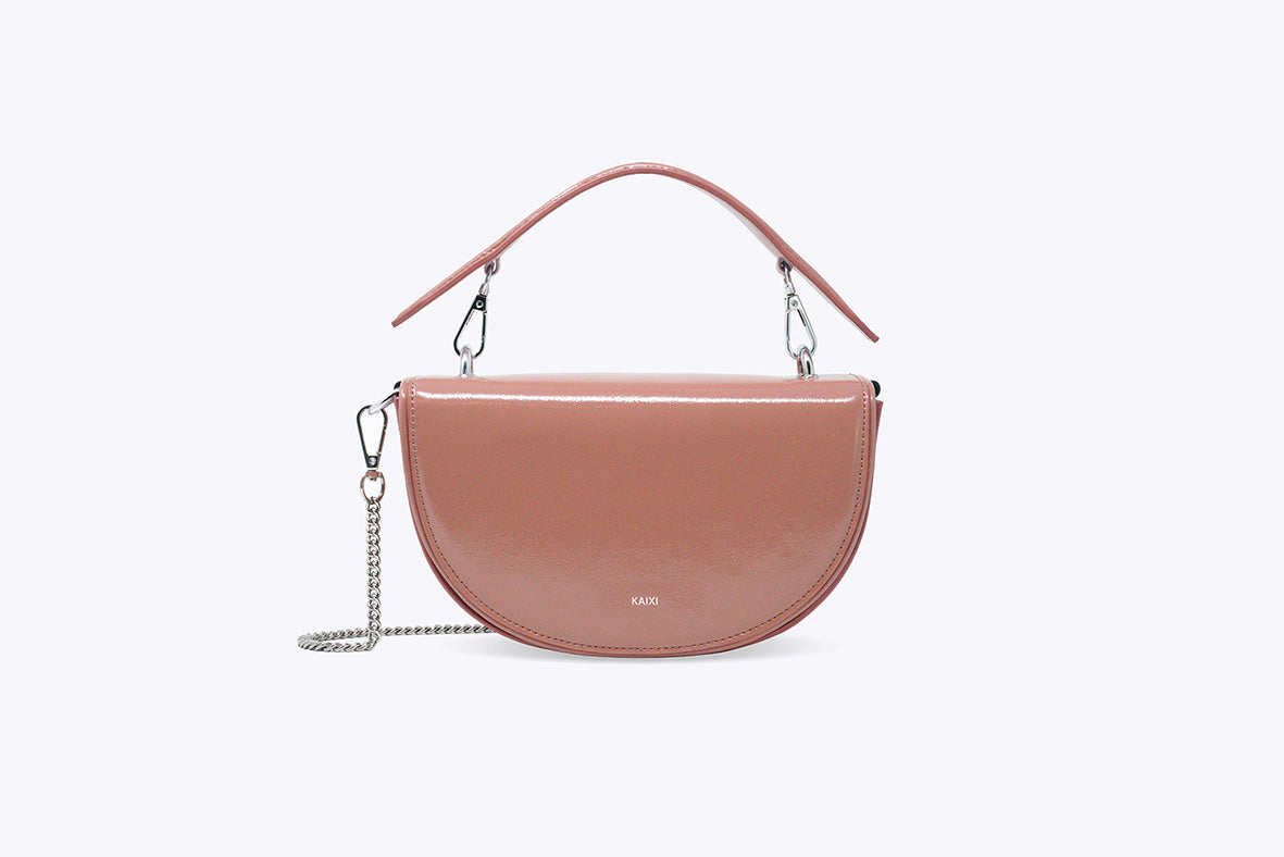 LUNA INTERCHANGEABLE TOP HANDLE BAG IN PEARL PINK - UMBRO KAIXI
