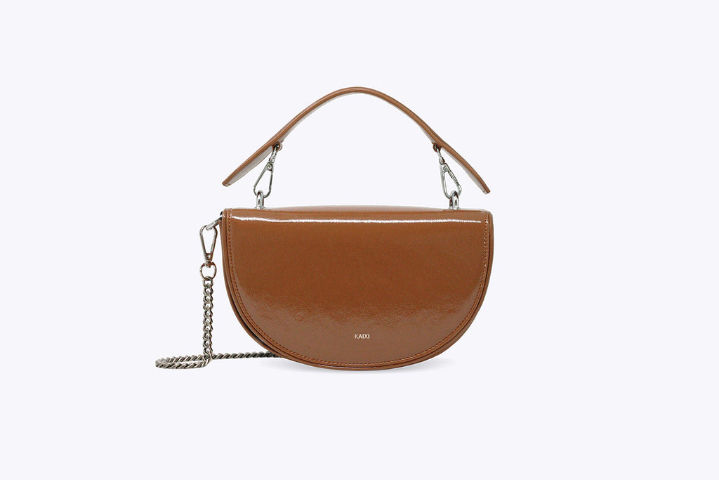 LUNA INTERCHANGEABLE TOP HANDLE BAG IN PECAN - UMBRO KAIXI