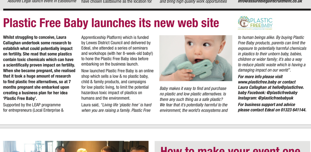 Plastic Free Baby article in Chamber of Commerce press page