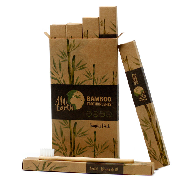 Eco Bathroom Bundle - Family Bamboo Toothbrushes & Bamboo Cotton Buds