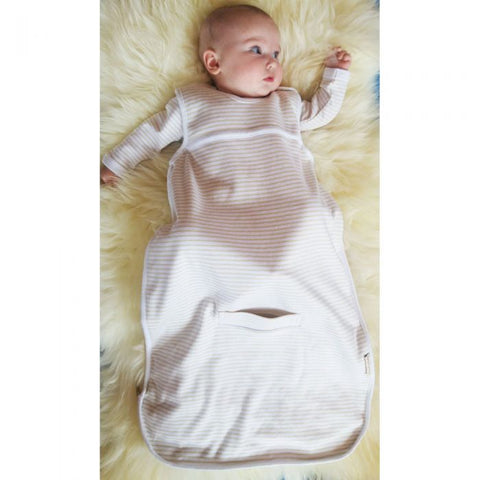 baby in cotton sleeping bag
