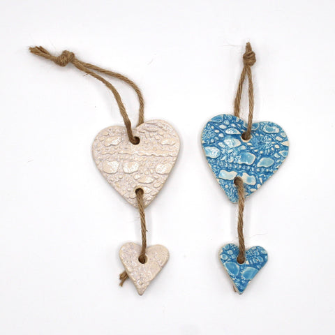 Handcrafted artisan hanging ceramic hearts