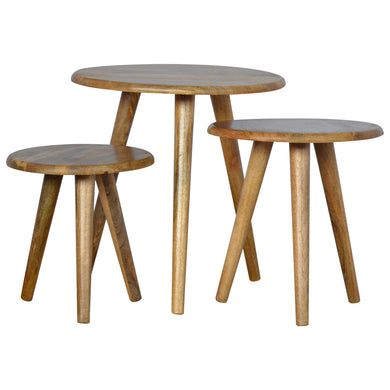 handmade wooden stools and tables