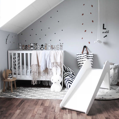 Child's wooden slide indoor bedroom