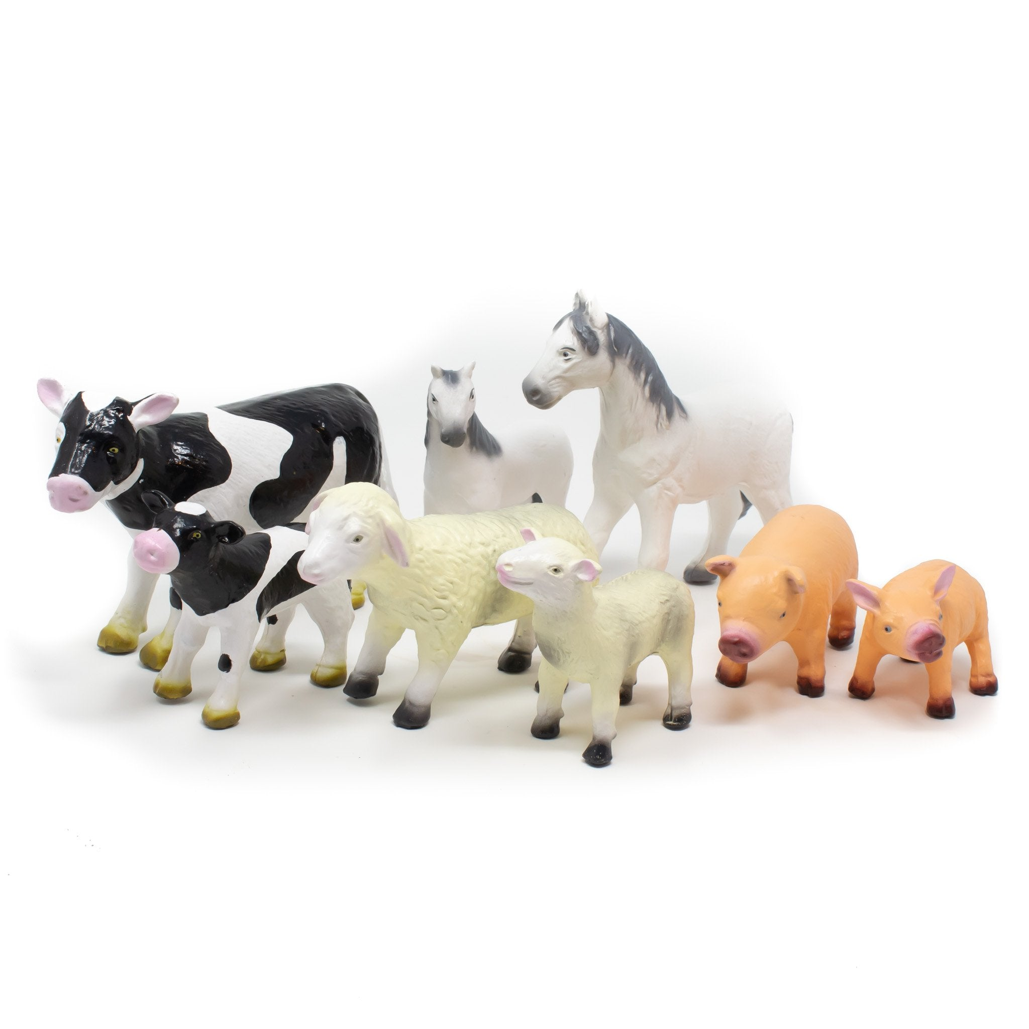 Green Rubber Toys - Farm Animals, Set of 8