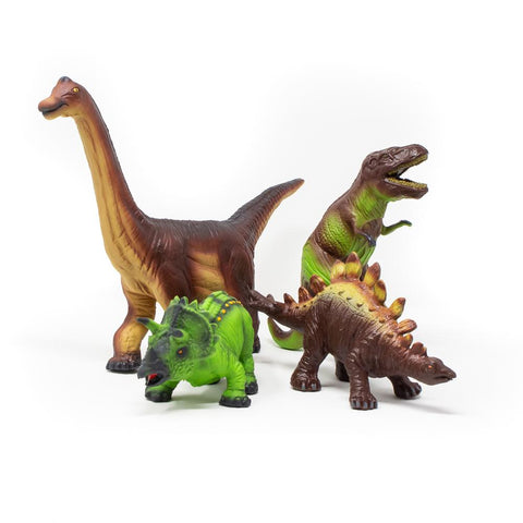 Green Rubber Toys - Dinosaurs, Set of 4