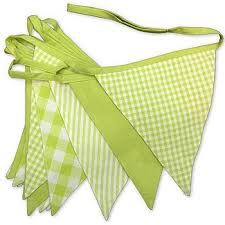 cotton bunting reusable party green and white