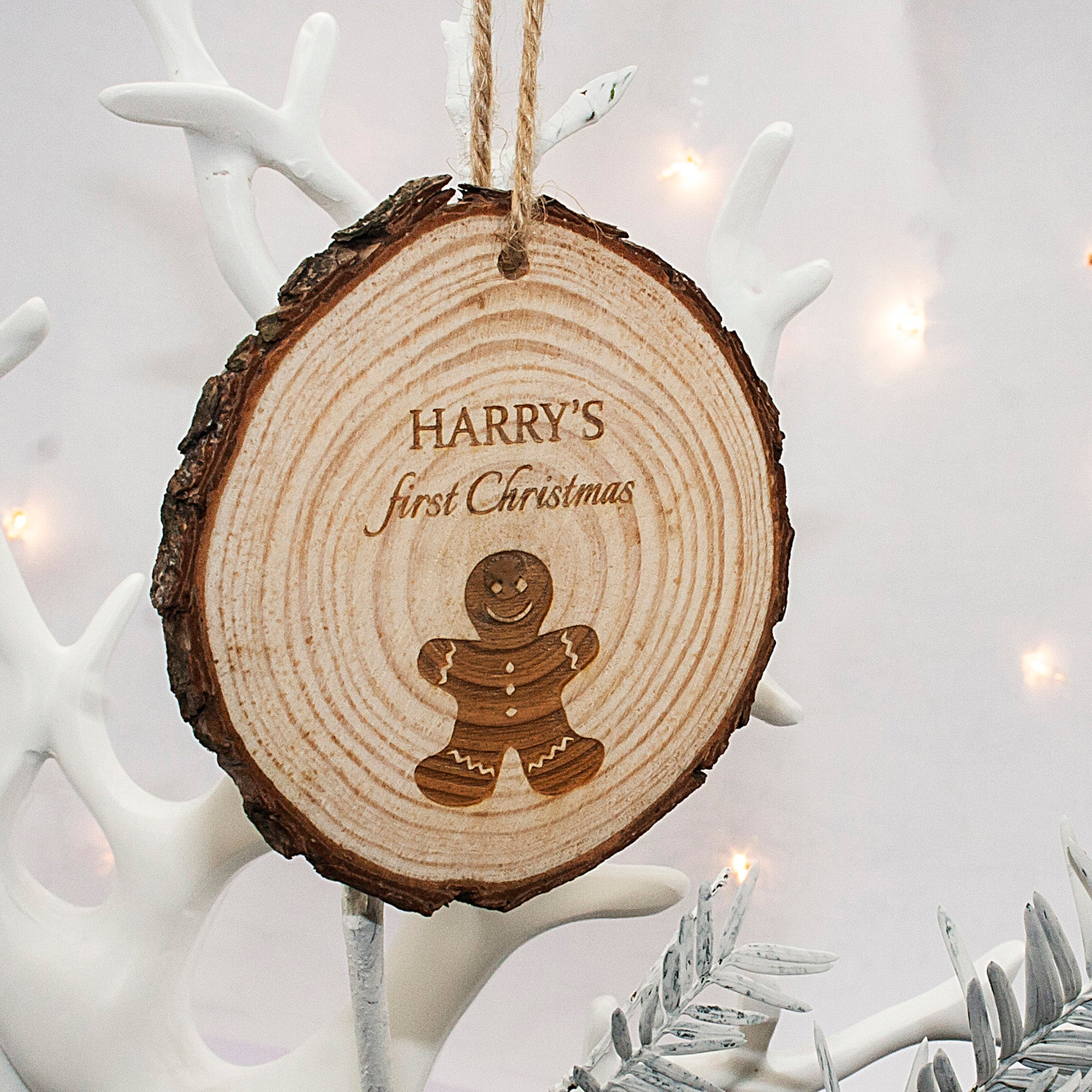personalised christmas tree decoration wood name and animal