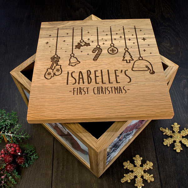 personalised wooden box for memories engraved christmas