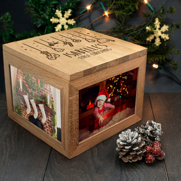 personalised wooden photo box for memories engraved christmas