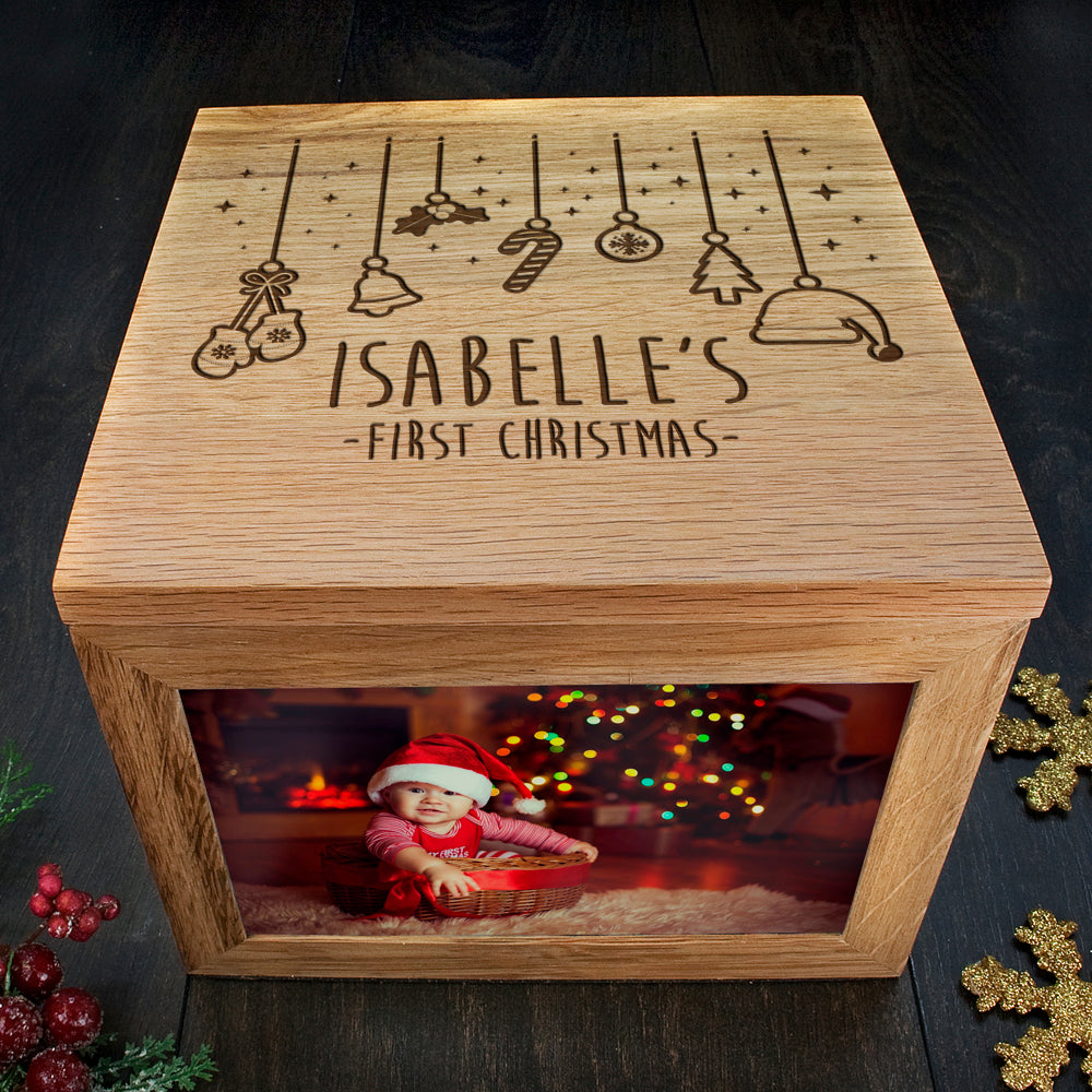 personalised wooden box for memories engraved christmas photos