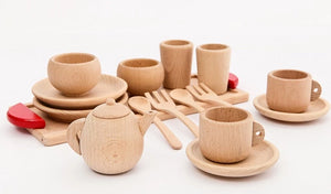 Wooden Montessori-inspired Children's Tea Time Play Set