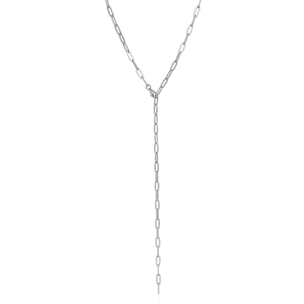 Chunky Lariat, Silver