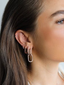 Sparkly Paperclip Earrings, Rosegold