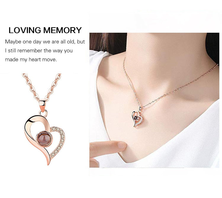 Women Love Memory Projection Necklace,100 Languages to Express I Love You Pendant Jewelry Best Gift for Valentine's Day