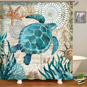Sea Turtle Print Waterproof Shower Curtain & 3Pc Non Slip Toilet Cover Rugs Mat