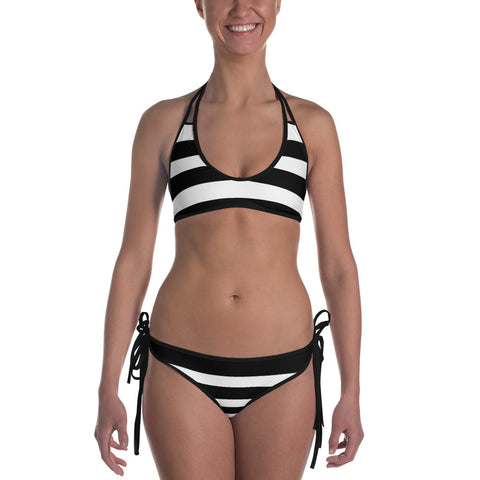Black and White Stripes Bikini