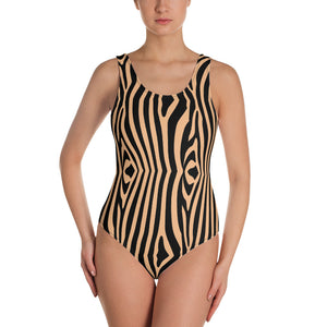 tropikaldystopia camel zebra One-Piece Swimsuit