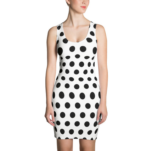 polka dot white & black Dress