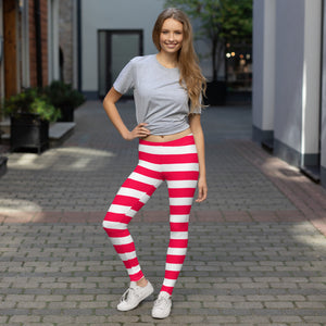 red & white stripes Leggings