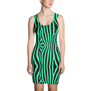 zebra green black Dress